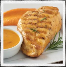 Pollo en salsa de mandarina con puré de camote